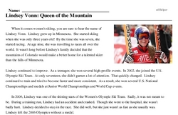 Print <i>Lindsey Vonn: Queen of the Mountain</i> reading comprehension.
