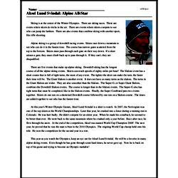 Print <i>Aksel Lund Svindal: Alpine All-Star</i> reading comprehension.