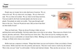 Print <i>Tears</i> reading comprehension.