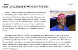 Print <i>Shani Davis, Around the World on Two Blades</i> reading comprehension.
