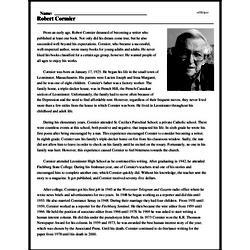 Print <i>Robert Cormier</i> reading comprehension.