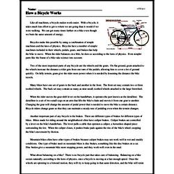Print <i>How a Bicycle Works</i> reading comprehension.