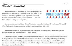Print <i>When Is Presidents Day?</i> reading comprehension.