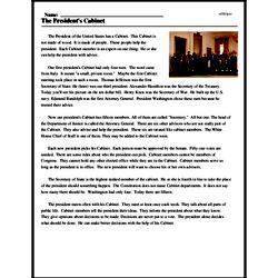 Print <i>The President's Cabinet</i> reading comprehension.