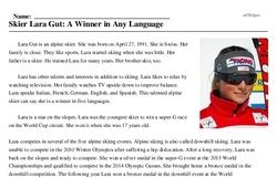 Print <i>Skier Lara Gut: A Winner in Any Language</i> reading comprehension.