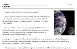Print <i>Gravity</i> reading comprehension.