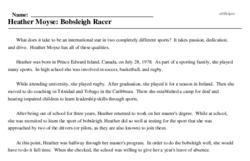 Print <i>Heather Moyse: Bobsleigh Racer</i> reading comprehension.