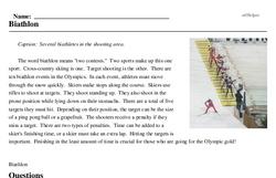Print <i>Biathlon</i> reading comprehension.