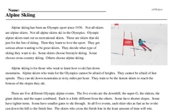 Print <i>Alpine Skiing</i> reading comprehension.