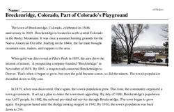 Print <i>Breckenridge, Colorado, Part of Colorado's Playground</i> reading comprehension.
