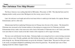 Print <i>The Christmas Tree Ship Disaster</i> reading comprehension.