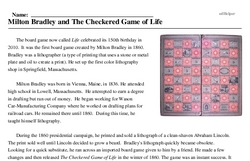 Print <i>Milton Bradley and <i>The Checkered Game of Life</i></i> reading comprehension.