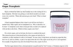 Print <i>Organ Transplants</i> reading comprehension.