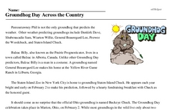 Print <i>Groundhog Day Across the Country</i> reading comprehension.