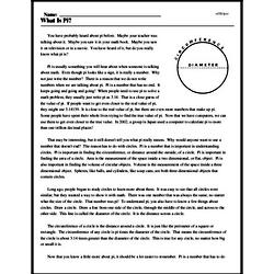 Print <i>What Is Pi?</i> reading comprehension.