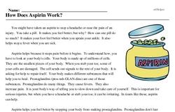Print <i>How Does Aspirin Work?</i> reading comprehension.
