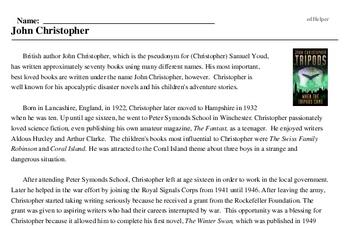 Print <i>John Christopher</i> reading comprehension.