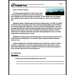 Print <i>How Windmills Work</i> reading comprehension.