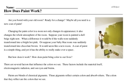 Print <i>How Does Paint Work?</i> reading comprehension.
