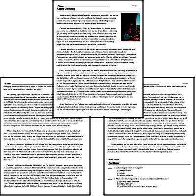 Print <i>Karen Cushman</i> reading comprehension.