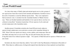Print <i>A Lost World Found</i> reading comprehension.