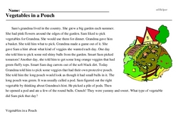 Print <i>Vegetables in a Pouch</i> reading comprehension.