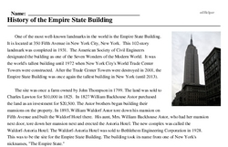 Print <i>History of the Empire State Building</i> reading comprehension.