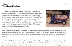 Print <i>The Great Zamboni</i> reading comprehension.