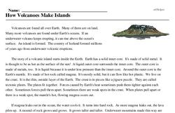 Print <i>How Volcanoes Make Islands</i> reading comprehension.