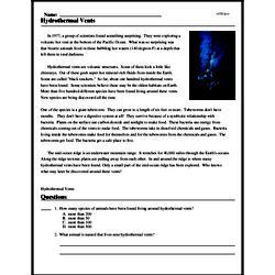 Print <i>Hydrothermal Vents</i> reading comprehension.