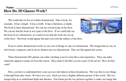Print <i>How Do 3D Glasses Work?</i> reading comprehension.