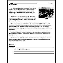 Print <i>Hoovervilles</i> reading comprehension.