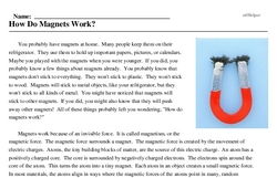 Print <i>How Do Magnets Work?</i> reading comprehension.