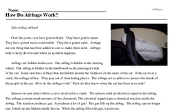 Print <i>How Do Airbags Work?</i> reading comprehension.