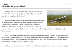 Print <i>How Do Airplanes Work?</i> reading comprehension.
