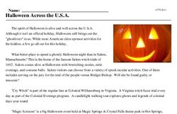 Print <i>Halloween Across the U.S.A.</i> reading comprehension.