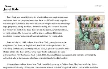 Print <i>Janet Bode</i> reading comprehension.