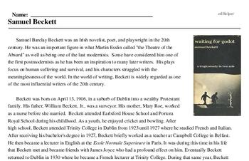 Print <i>Samuel Beckett</i> reading comprehension.