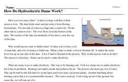 Print <i>How Do Hydroelectric Dams Work?</i> reading comprehension.