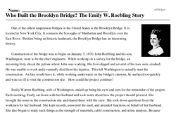 Print <i>Who Built the Brooklyn Bridge? The Emily W. Roebling Story</i> reading comprehension.