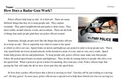 Print <i>How Does a Radar Gun Work?</i> reading comprehension.