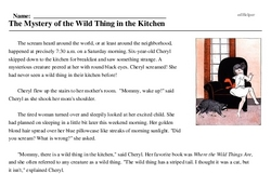 Print <i>The Mystery of the Wild Thing in the Kitchen</i> reading comprehension.