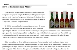 Print <i>How Is Tabasco Sauce Made?</i> reading comprehension.