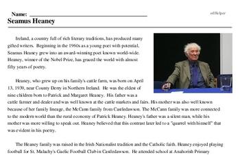 Print <i>Seamus Heaney</i> reading comprehension.