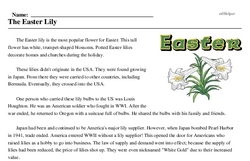 Print <i>The Easter Lily</i> reading comprehension.