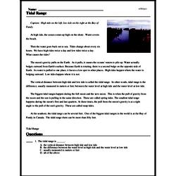 Print <i>Tidal Range</i> reading comprehension.