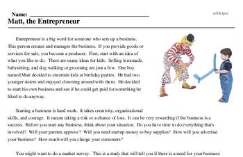 Print <i>Matt, the Entrepreneur</i> reading comprehension.