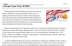 Print <i>A Dream Come True: ICODA</i> reading comprehension.