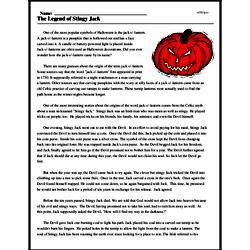 Print <i>The Legend of Stingy Jack</i> reading comprehension.