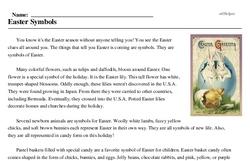 Print <i>Easter Symbols</i> reading comprehension.